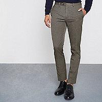 Pantalon skinny motif pied-de-poule marron