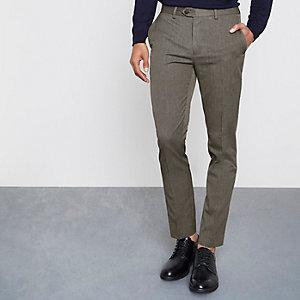 Bruine fijn geruite broek met smalle pasvorm