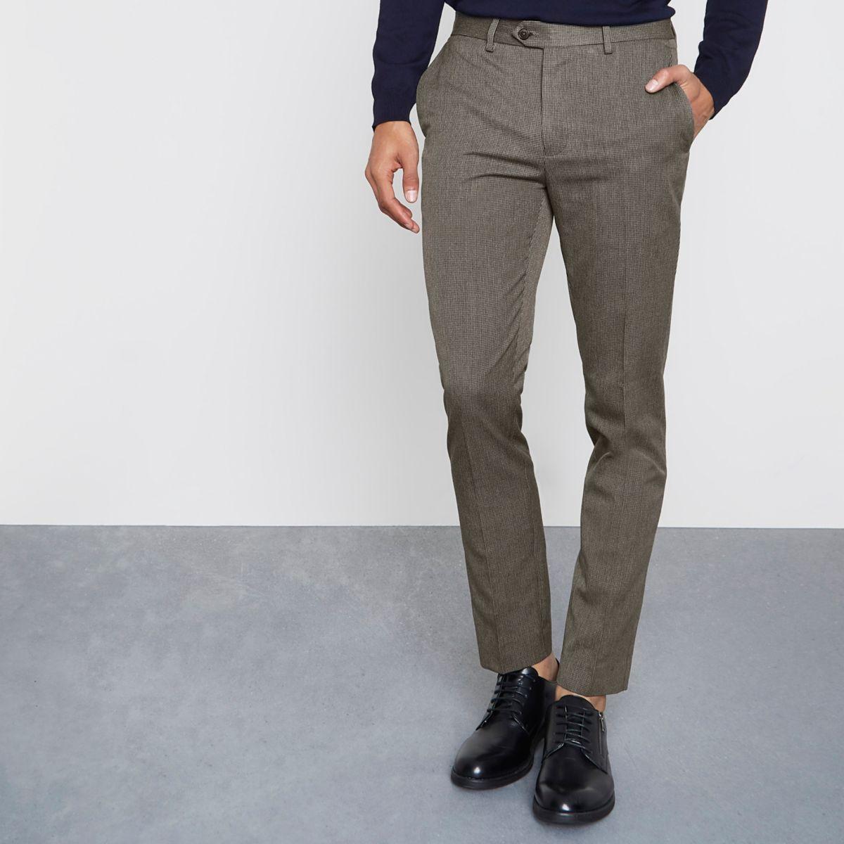 pantalon skinny motif pied de poule marron pantalons. Black Bedroom Furniture Sets. Home Design Ideas