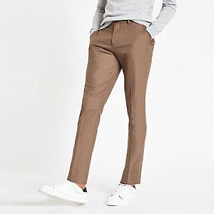 Camelkleurige nette skinny-fit broek