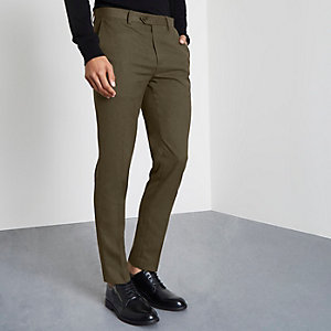 Khaki green smart skinny fit pants