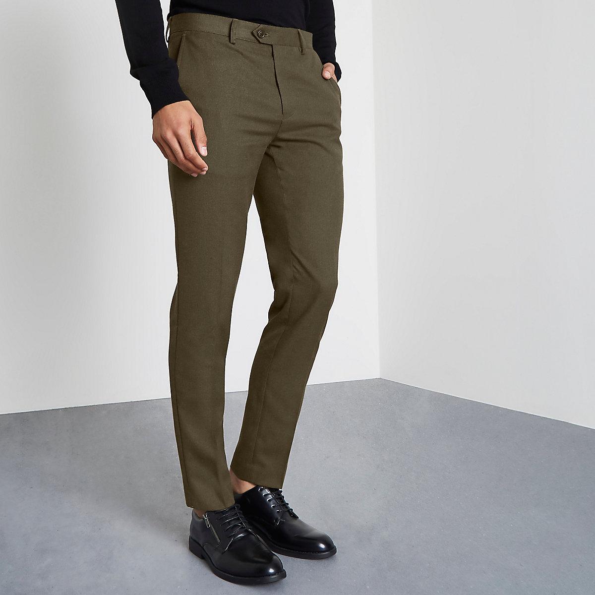 Khaki green smart skinny fit pants