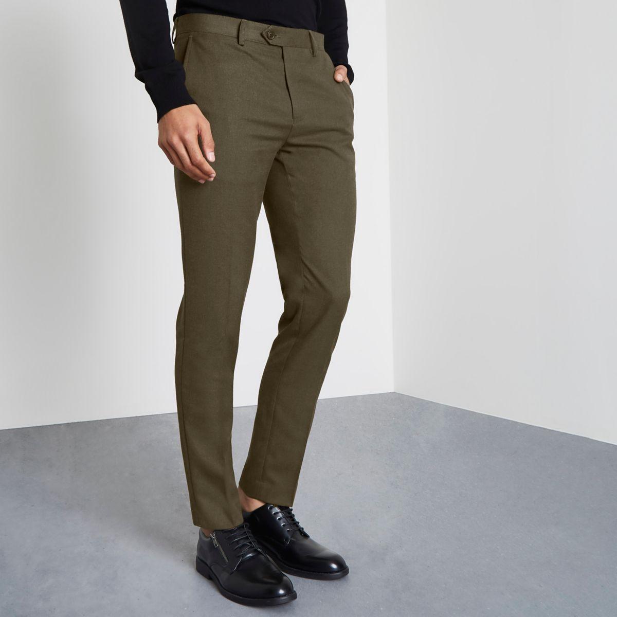 Khaki green smart skinny fit trousers