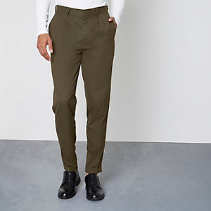 Khaki green tapered leg skinny fit trousers