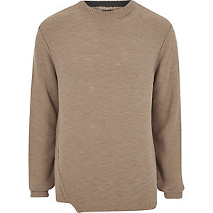 Light brown knitted crew neck sweater