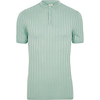 Light green ribbed muscle fit polo shirt