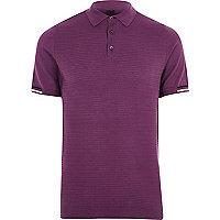 Purple textured slim fit polo shirt