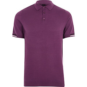 Purple textured slim fit polo shirt