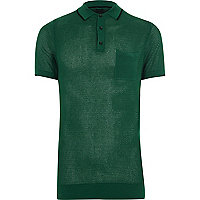 Green mesh muscle fit polo shirt