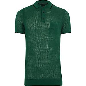 Grünes Muscle Fit Polohemd