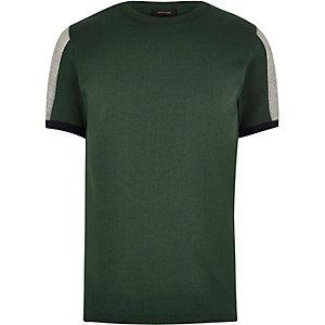 Grüne Slim Fit Pullover mit Mesh-Einsatz