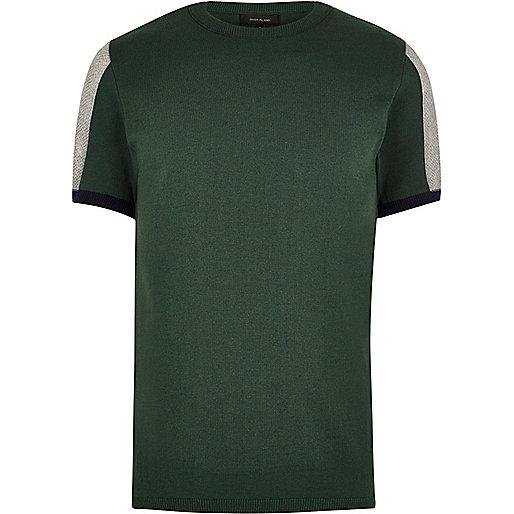 Green knit mesh panel slim fit jumper