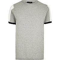 Grey marl knit mesh panel slim fit sweater