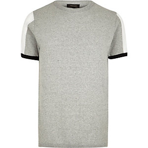 Grey marl knit mesh panel slim fit jumper