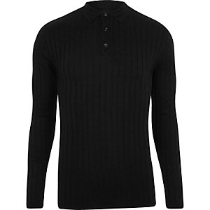 Black rib knit muscle fit polo shirt