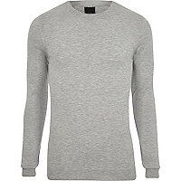 Grey marl muscle fit crew neck sweater