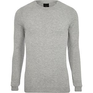 Grau melierter Pullover mit Rundhalsausschnitt