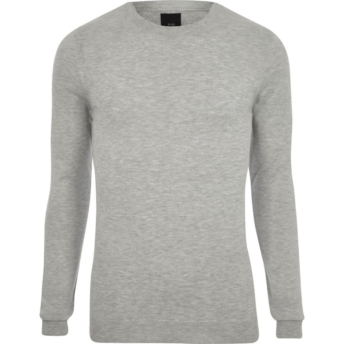 Grey marl muscle fit crew neck jumper