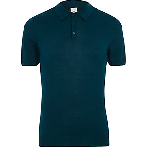 Navy knit muscle fit short sleeve polo shirt