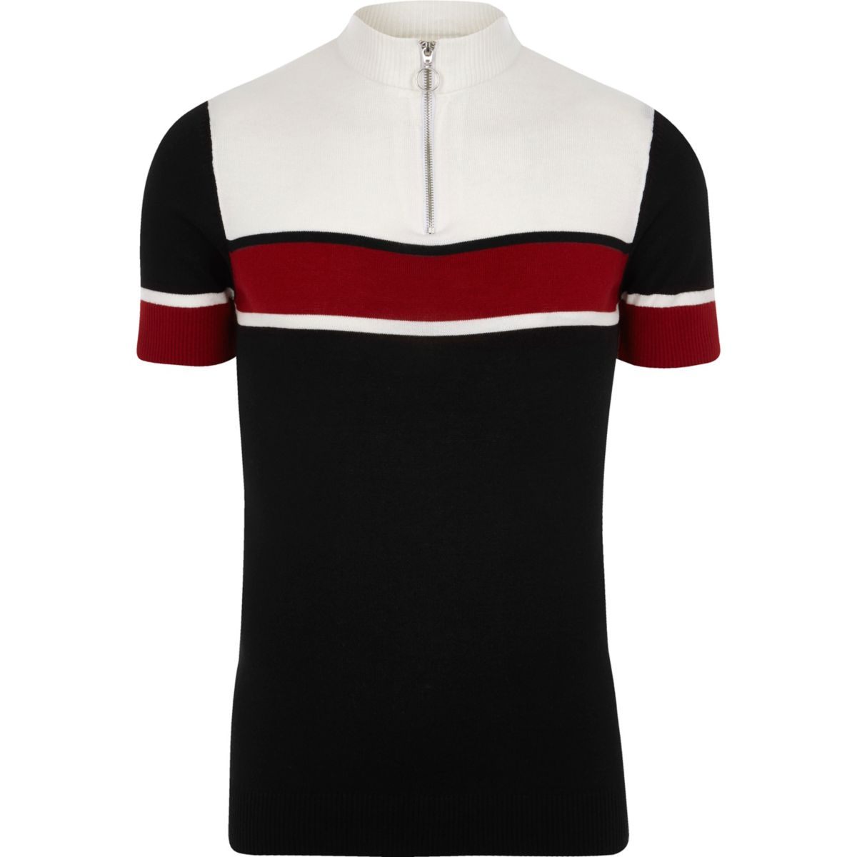 Black blocked muscle fit funnel polo shirt