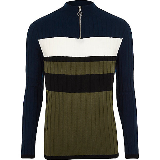 Navy rib blocked muscle fit funnel sweater