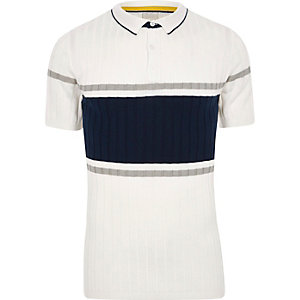 Cream rib blocked muscle fit polo shirt