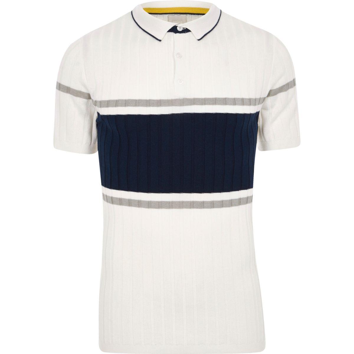 Cream rib blocked muscle fit polo shirt