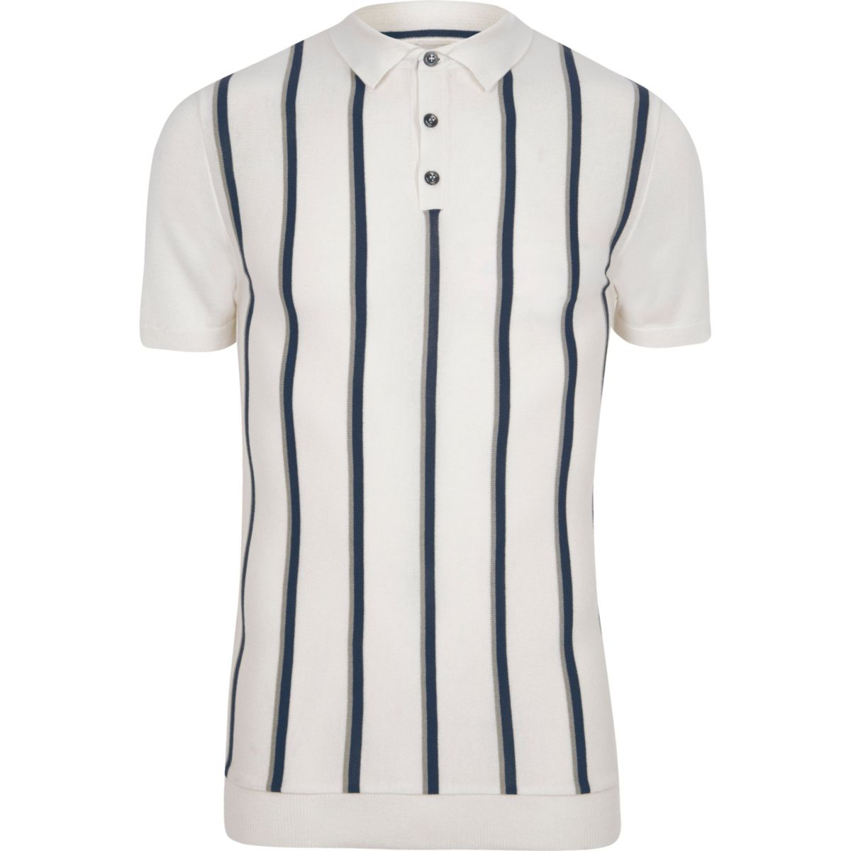 Cream stripe muscle fit knitted polo shirt