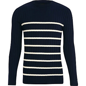 Navy knit stripe muscle fit crew neck sweater