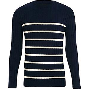 Marineblauwe gebreide aansluitende pullover met ronde hals en strepen