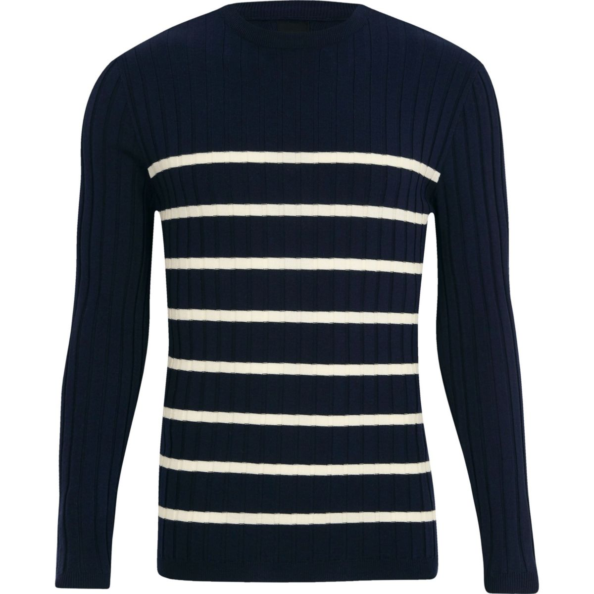 Navy knit stripe muscle fit crew neck jumper