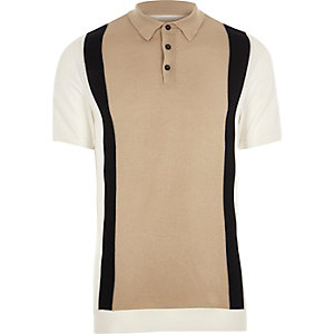 Cream knit blocked slim fit polo shirt