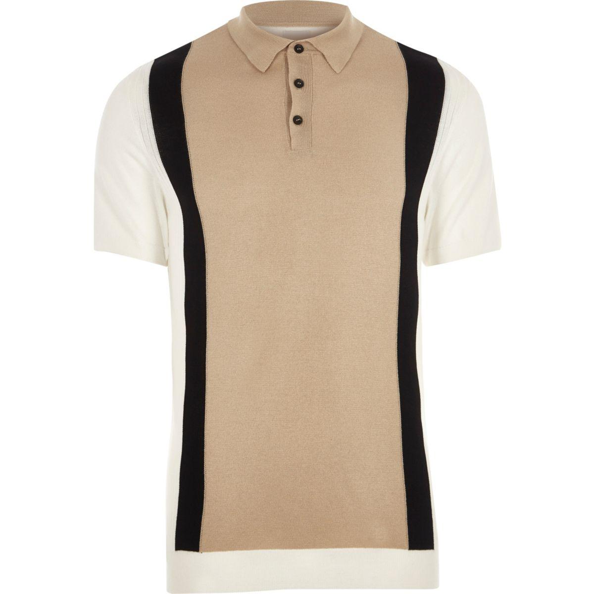 Cream knit blocked slim fit polo shirt