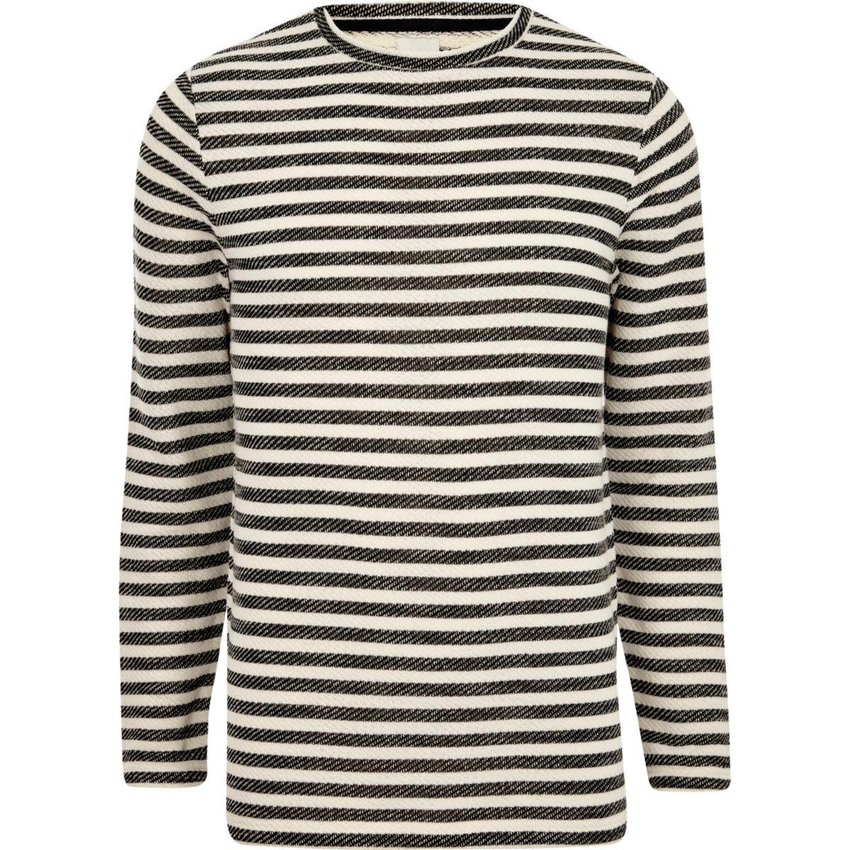Cream stripe print slim fit long sleeve top