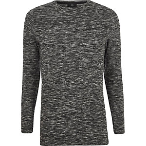 Grey knit muscle fit longline sweater