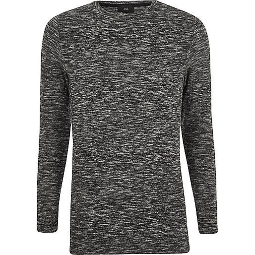 Grey knit muscle fit longline jumper
