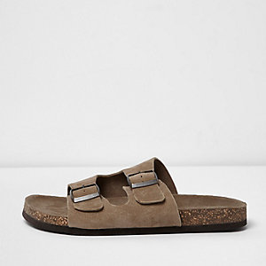 Light brown double buckle strap suede sandals