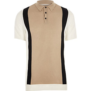 Big and Tall cream blocked knitted polo shirt