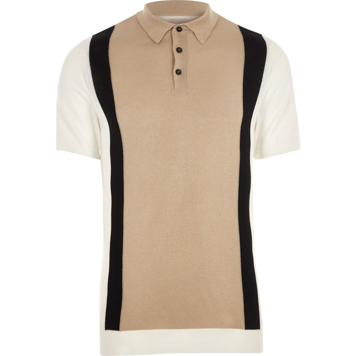 big and tall cream blocked knitted polo shirt polo