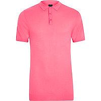 Pink mesh knit slim fit polo shirt