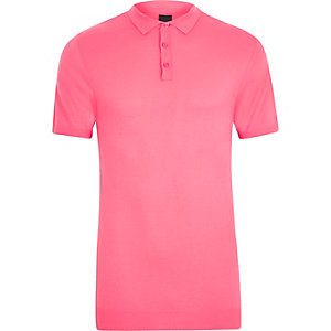 Pink mesh knit slim fit polo shirt