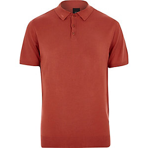 Orange mesh knit slim fit polo shirt