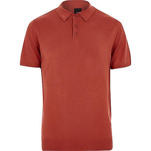 Orange mesh knit slim fit polo shirt