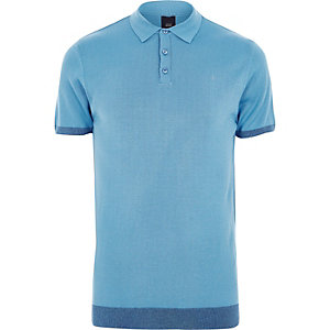 Blue slim fit short sleeve knitted polo shirt