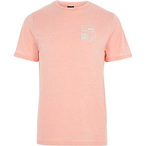 Coral burnout 'past present' print T-shirt