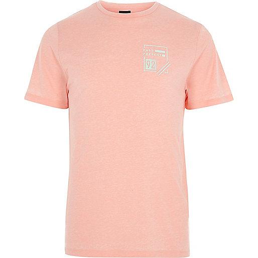 Coral burnout 'past present' print T-shirt