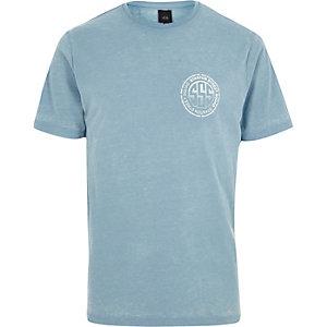 T-shirt à imprimé « Stanton squad » effet burnout bleu