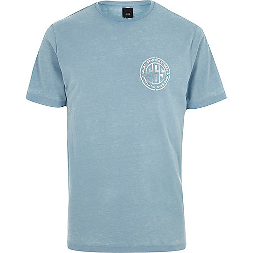 Blue burnout 'Stanton squad' print T-shirt