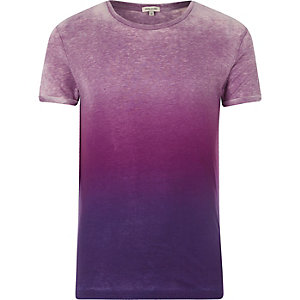 Purple dip dye short sleeve T-shirt
