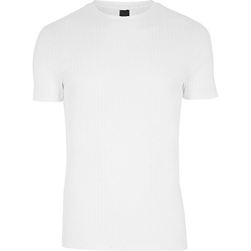White ribbed muscle fit crew neck T-shirt